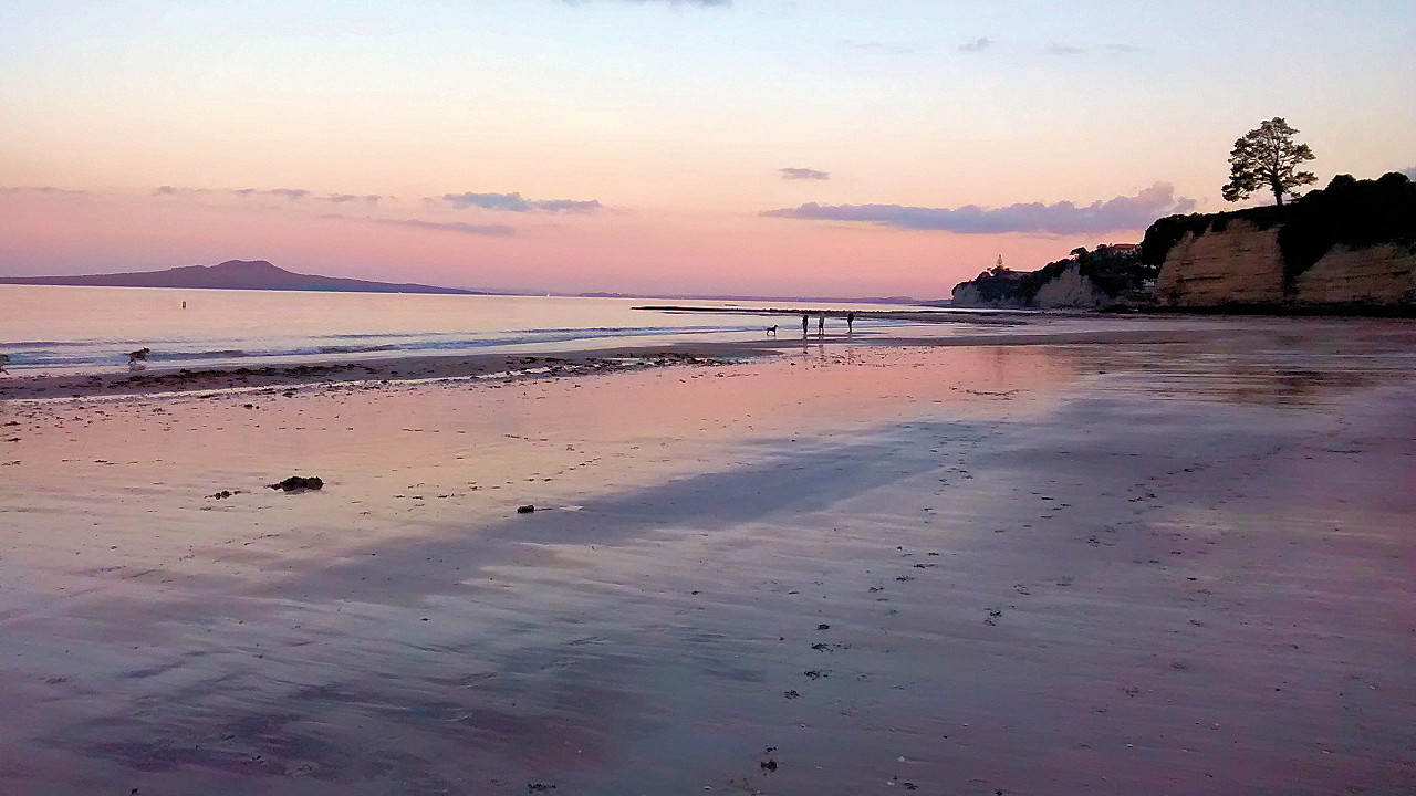 Browns Bay Beach at sunset